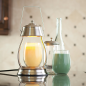 Preview: Candle Warmers HURRICANE Laterne Metall für Duftkerzen im Glas brushed nickel