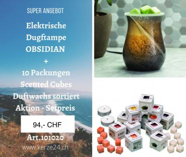 Candle Warmers Duftlampenset - Obsidian  inclusive 10 Packungen Scented Cubes Düfte
