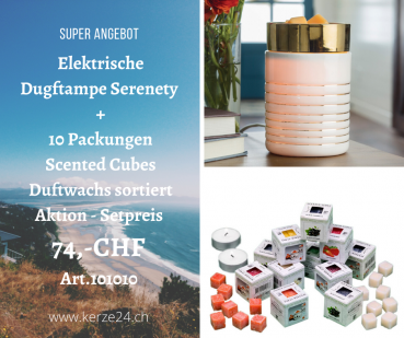 Candle Warmers Duftlampenset - Serenety inclusive 10 Packungen Scented Cubes Düfte