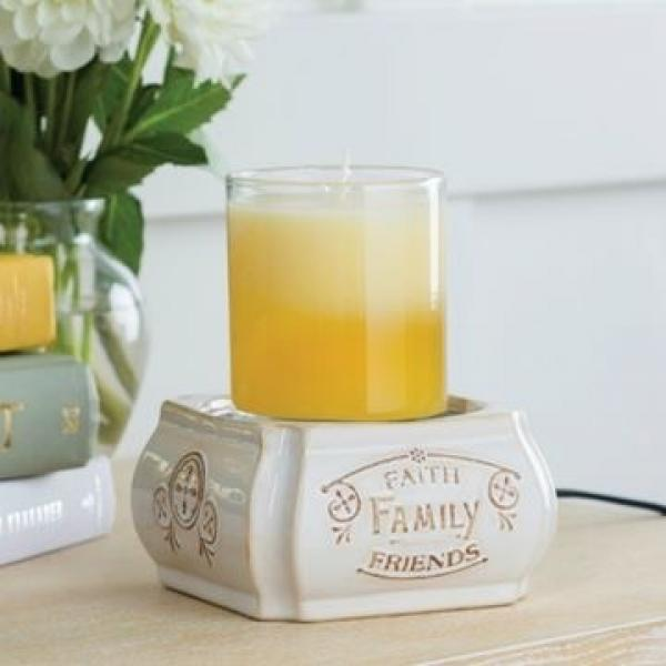 Candle Warmers elektrische Duftlampe 2in1 FAITH FAMILY FRIENDS Classic creme